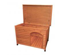 Trixie Natura Caseta de madera de techo plano para perros - L: 104 x 72 x 68 cm (L x An x Al)