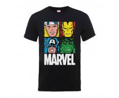 Marvel Camiseta Marvel Comics Azulejos Multicolor - Hombre - Negro - XXL - Negro