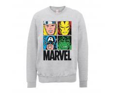Marvel Sudadera Marvel Comics Azulejos Multicolor - Hombre - Gris - XXL - Gris