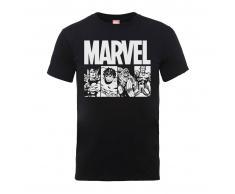 Marvel Camiseta Marvel Comics Azulejos Acción - Hombre - Negro - XL - Negro