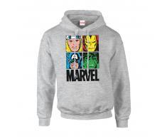 Marvel Sudadera capucha Marvel Comics Azulejos Multicolor - Hombre - Gris - XXL - Gris
