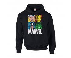 Marvel Sudadera capucha Marvel Comics Azulejos Multicolor - Hombre - Negro - XXL - Negro