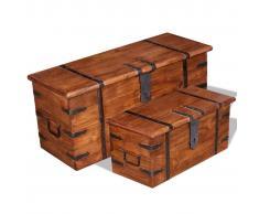 vidaXL Set de baúl de almacenamiento de madera maciza 2 unidades