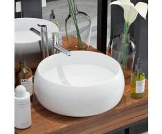 vidaXL Lavabo redondo de cerámica 40x16 cm blanco