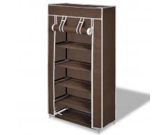 vidaXL Zapatero de tela con cubierta, marrón, 58 x 28 x 106 cm