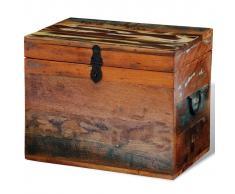 vidaXL Baúl de almacenamiento de madera maciza