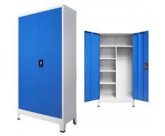 vidaXL Armario taquilla con 2 puertas metal 90x40x180 cm gris y azul