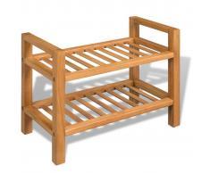 vidaXL Zapatero con dos estantes roble macizo 49,5x27x40 cm