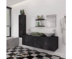 vidaXL set mobiliario de baño con lavabo 9 uds negro (242561+242571)