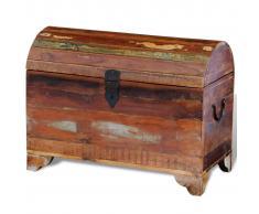 vidaXL Baúl de almacenamiento de madera reciclada maciza