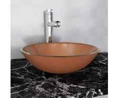vidaXL Lavabo de vidrio templado 42 cm marrón