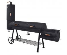 vidaXL Barbacoa ahumador fuerte de carbón estante inferior negro XXXL