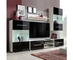 vidaXL Mueble de pared 5 uds gabinete TV con iluminación LED negro