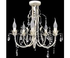 vidaXL Elegante lámpara araña de techo colgante con cristales, cinco focos