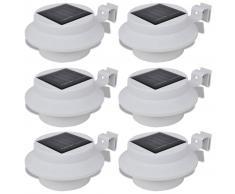 vidaXL Foco solar blanco para vallas de jardín, 6 unidades