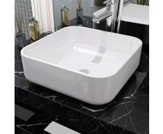 vidaXL Lavabo cuadrado de cerámica 38x38x13,5 cm cm blanco