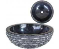 vidaXL Lavabo de mármol Negro 40 cm
