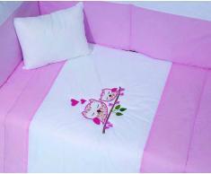 Edredón cama bebé 100x140 cm + Protector cuna bebé 45x180 cm + almohada 30x40 cm (Conjunto bebé rosa)