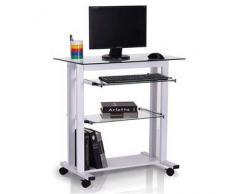 Hjh Mesa de ordenador TOKIN, Compacta, 80x51x83 cm, en Cristal y Metal color Blanco