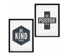SuperStudio 2 Cuadros con Marco 33x43: BE POSITIVE + BE KIND