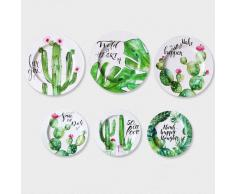 SuperStudio Platos Decorativos CACTUS -Set de 6 unidades-