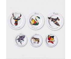 SuperStudio Platos Decorativos ANIMALS -Set de 6 unidades-