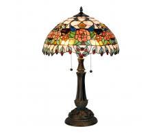 Clayre & Eef Lámpara de mesa colorida Maja, diseño Tiffany