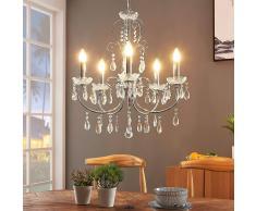 Lampenwelt.com Lámpara de araña Solveig con cristales, cromo