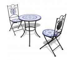vidaXL Juego de mesa y sillas de jardín con mosaico 60 cm azul/blanco
