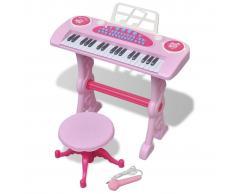 vidaXL Piano de juguete de 37 teclas con taburete/micrófono para niños (Rosa)