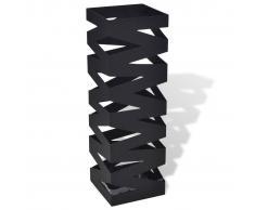 vidaXL Paragüero cuadrado negro de acero, 48.5 cm, guarda bastones