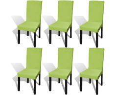 vidaXL Funda para silla elástica recta 6 unidades verde