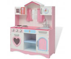 vidaXL Cocinita de juguete de madera 82x30x100 cm rosa y blanca