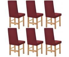 vidaXL Funda elástica para silla burdeos piqué 6 unidades