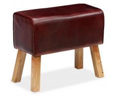 vidaXL Banco de cuero auténtico marrón 60x30x50 cm
