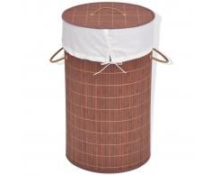 vidaXL Cesto de la ropa de bambú redondo marrón