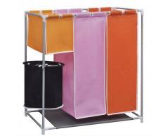vidaXL Organizador de 3 secciones para ropa sucia con cubo de lavado