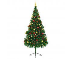 vidaXL Árbol Navidad artificial decorado bolas luces LED 210 cm verde