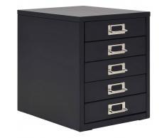 vidaXL Armario archivador con 5 cajones metal 28x35x35 cm negro