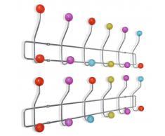 vidaXL Percheros de pared con 12 ganchos colorido 2 unidades