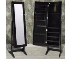 vidaXL Espejo joyero negro de pie con luz LED