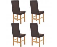 vidaXL Funda elástica para silla marrón piqué 4 unidades