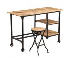 vidaXL Escritorio y taburete plegable madera maciza mango 115x50x76