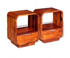 vidaXL Mesita de noche con cajón 2 unids madera sheesham 40x30x50 cm