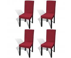 vidaXL Funda de silla elástica recta 4 unidades burdeos
