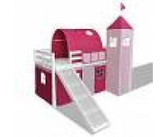 vidaXL Cama alta en forma de castillo rosa de princesa