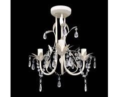 vidaXL Elegante lámpara araña de techo colgante blanca con cristales