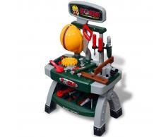 vidaXL Mesa de trabajo de juguete para niños con herramientas (Verde + Gris)