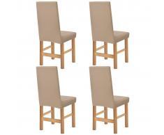 vidaXL Funda elástica para silla beige piqué 4 unidades