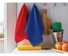 Bomdia Classic® Paños de cocina de rizo 50x50 cm color azul, rojo, verde amarillo - Portugal Natura (KT133)